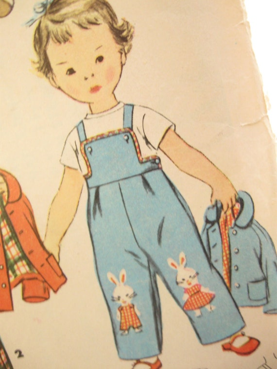 Simplicity 4417 Toddler Overalls and Jacket  Vintage Sewing Pattern Size 1