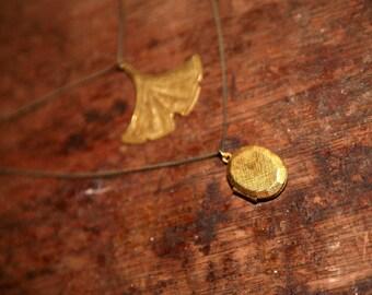 Raw Brass Ginkgo Leaf Locket Double Chain Charm Necklace