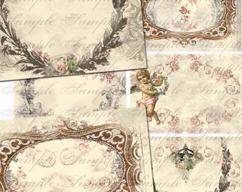 Digital Instant Download Antique French Frames Backgrounds - ACEO - Digital Download Gift Tags Digital Collage Sheet