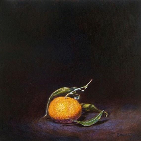 Tangerine in the Dark - Original Oil Painting 12x12