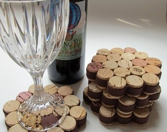 Honeycomb Wine Cork Coaster with Brown Ribbon-Set of Four - Housewarming, Wedding, Hostess Gift, Entertaining, Eco Friendly