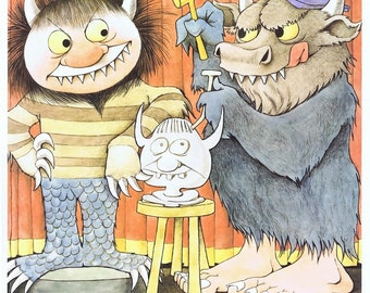 Vintage MAURICE SENDAK 'The Junior Museum Art Institute of Chicago' Poster Print, Adorable, Perfect for Framing, Nursery, Wild Thing
