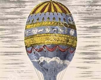 Vintage Hot Air BALLOON Large Lithograph, 'Ascension du Sieur Adorne a la Citadelle de Strasbourg', Mid-Century, Colorful, Gorgeous, Nursery