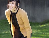 College cardigan -  autumn yellow sweater with black trim, football game preppy style - small