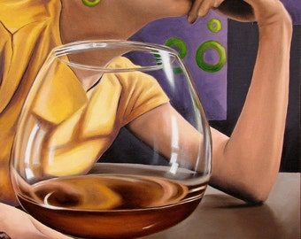 Thinking and Drinking cognac snifter glass drinking bar scene oil painting reproduction 8x10 print