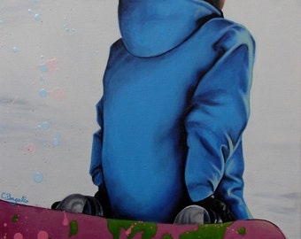 Snow Girl snowboard winter sport oil painting reproduction 8x10 print