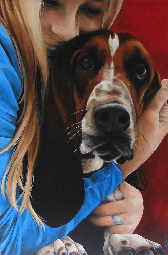 Basset Hound Dog art print 8x10