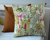 Birds in the Village Pillow  - Pillow Cover - Decorative Pillow