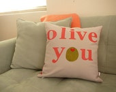 Olive You - Valentines Day - Pillow Cover - Decorative Pillow Cover -  Decor