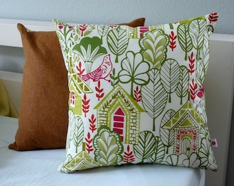 Christmas Village - Decorative Pillow - Cover - Birds - Houses - Neighborhood - Trees - Repurposed - Gifts Under 20