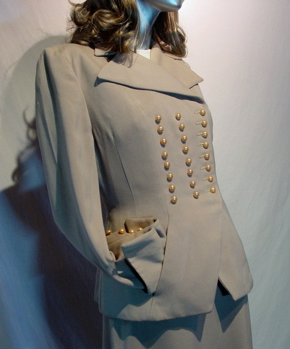 Vintage 1940's Military Style Womens Suit with Jacket, Skirt and Champagne Pearl Buttons