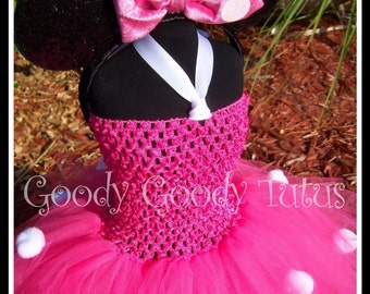 LITTLE MISS MINNIE Pink Crocheted Tutu Dress and Mouse Ears with Plush Bow - Small - Up to 4-6t