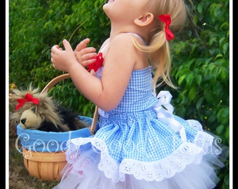 YELLOW BRICK ROAD Wizard of Oz Inspired Dorothy Tutu with Twirl Skirt, Corseted Top & Hairbow Clippies