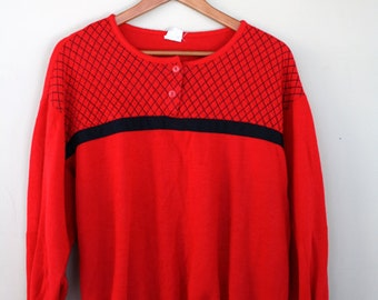 SALE vintage slouchy red sweater / red and black, checkered