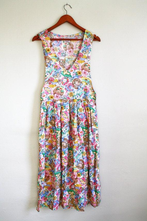 vintage print dress garden tea party by wearvintology