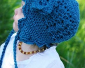 Crochet PATTERN 135, Peacock Earflap Hat and Flower, Photography Prop, Newborn to size 3