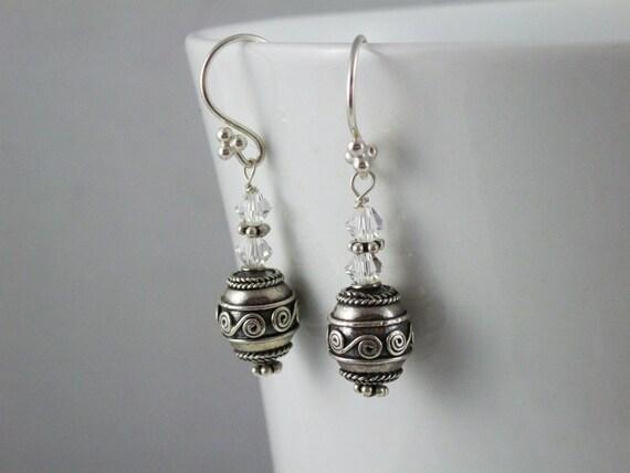 Mimm's Sterling Silver Crystal Bali Earrings