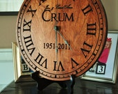 Personalized Clock Carved Engraved  Wood 13 Inch Diameter by MRC Wood Products