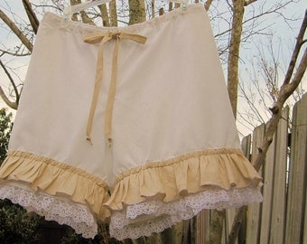 White and Tan Bloomers with Lace and Ruffles