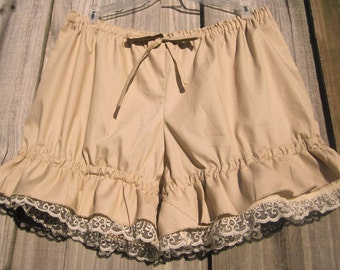 Beige Bloomers with creamy lace and ruffles