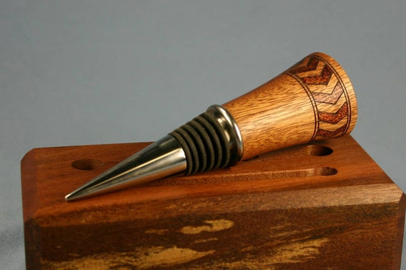 Mahogany Wood Wine Bottle Stopper with Band of Woodburned Chevrons