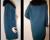 Vintage 1950s coat - Medium  - teal blue eyelash wool with black faux fur