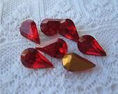 Siam Red 10x6 Swarovski Rhinestone Pear, Vintage Glass