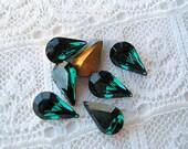 10x6 Swarovski Glass Emerald Green Pear Rhinestone