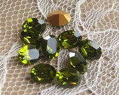 Swarovski Rhinestone Oval 8x6 mm Machine Cut Olivine Green