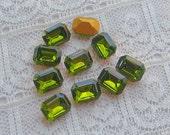 8x6 mm Swarovski Green Olivine Octagon Vintage Rhinestones