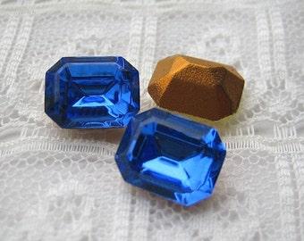 10x8 Swarovski Sapphire Blue Octagon Glass Rhinestones