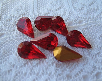 Siam Red 10x6 Swarovski Rhinestone Pear, Vintage Glass
