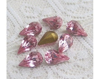 8x4 mm Swarovski Light Rose Pink Glass Vintage Rhinestone Pear Teardrop Qty 8
