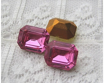 12x10 mm Swarovski Vintage Rhinestone Rose Pink Glass Octagon Qty 1 Pair