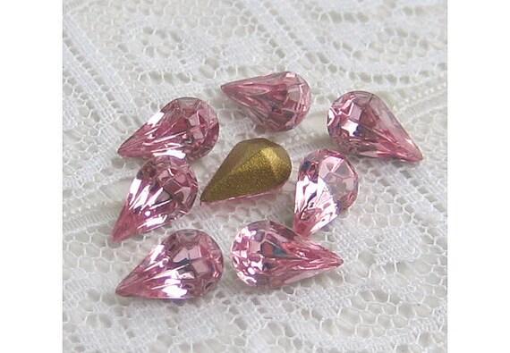 8x4 mm Swarovski Light Rose Pink Glass Vintage Rhinestone Pear Teardrop Qty 8