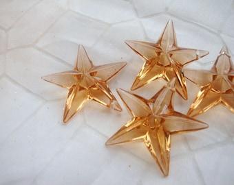 15 pcs Acrylic Brown Stars Drop Brown ICE Beads. DIY Suppies.