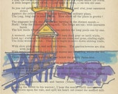 Watercolor landscape, Funky Bright Lighthouse