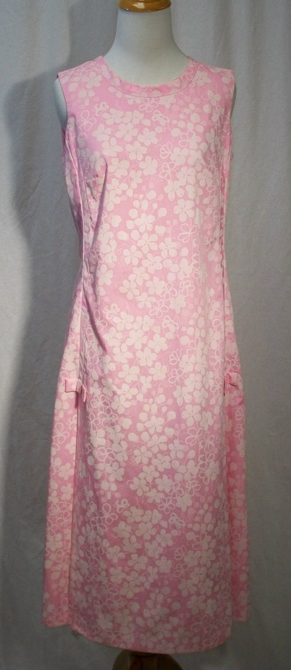Vintage Lilly Pulitzer THE LILLY Pink Flower Print Mid Calf Dress with Bows Med