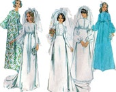 Wedding Dress Bridal Bridesmaid Gown 1970s Vintage Sewing Pattern Style 3921 Size 14  Bust 36
