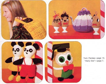 Knitted Stuffed Toys bags tea cosy patterns 70s Vintage Knitting & Crochet patterns book Bazaar Time Patons C28