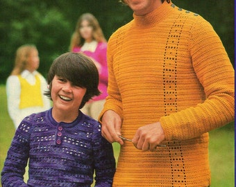 1970s Vintage Crochet patterns booklet Women Men Children 7 patterns Patons 305 Australian ORIGINALS NOT PDF