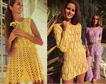 Villawool No 4 Vintage 70s crochet booklet 12 Boho Spring designs for women BIKINIS DRESSES Cover Ups Pantsuit Great Hippie Designs