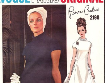 60s PIERRE CARDIN Mod Dress Pattern Vogue Paris Original 2190 Vintage Sewing Pattern Size 10 or 14 Bust 32 1/2 or 36 UNCUT Factory Folded