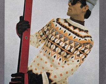 60s Mens Knitting patterns Ski Lodge Sweaters Nordic Knits Vintage Paper Patterns ORIGINALS NOT PDF