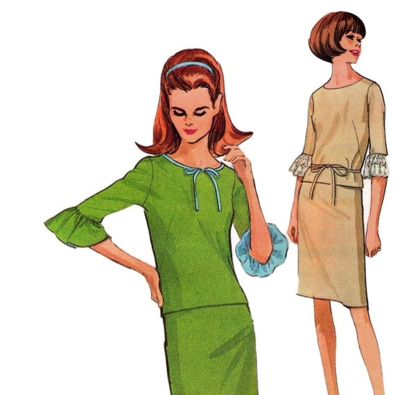 1960s Vintage sewing pattern Boho Top with ruffle sleeves & Skirt Size 14  Bust 34