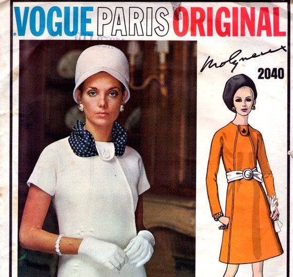60s Vintage Vogue Paris Original Pattern 2040 Molyneux Fitted Dress Size 14 Bust 34