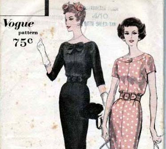 Sz 12 Vintage 50s Vogue Sewing Pattern 9781 Wiggle Dress Size 12 Bust 32  UNUSED FF