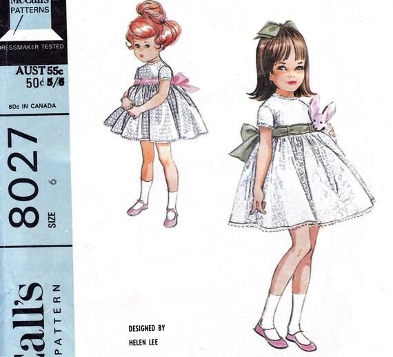 60s Vintage Sewing pattern  McCalls 8027 Girls Dress & Petticoat by Helen Lee Size 6 Breast 24