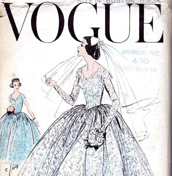 1950s Wedding Dress Pattern Bridal Gown Vintage Sewing Pattern