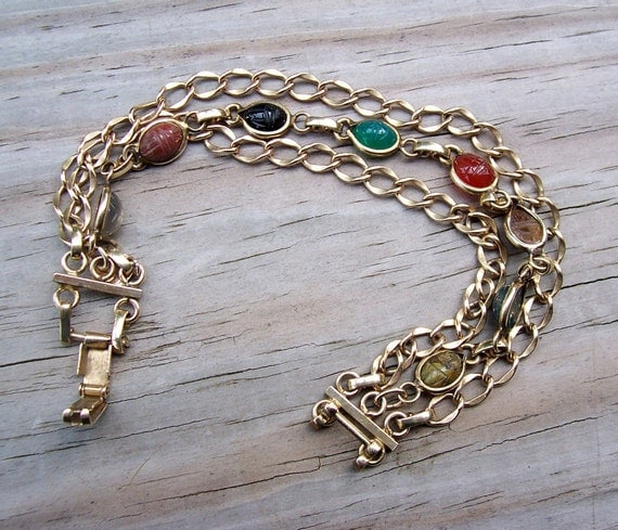 Beautiful Vintage Goldfill Chainlink Egyptian Revival Scarab Bracelet